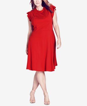 Trendy Plus Size Ruffled-Shoulder A-Line Dress, Vermillion