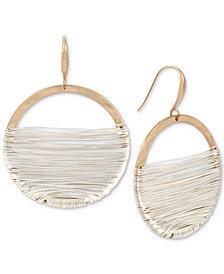 Robert Lee Morris Soho Two-Tone Wire-Wrapped Drop Hoop Earrings