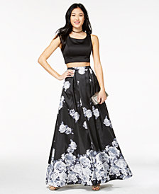 Sequin Hearts Juniors' Printed-Skirt 2-Pc. Gown, Created for Macy's