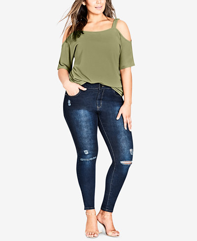 City Chic Trendy Plus Size Ripped Jeggings