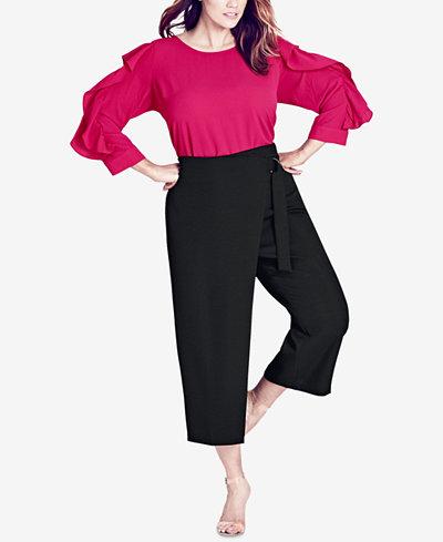City Chic Trendy Plus Size Cropped Wrap Pants