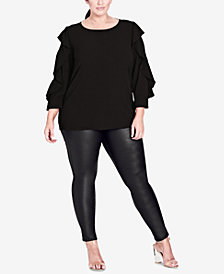 City Chic Trendy Plus Size Button-Back Top
