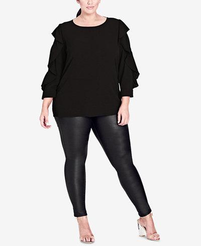 City Chic Trendy Plus Size Button-Back Top