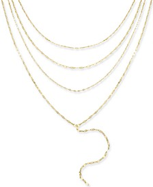 "Gold-Tone Multi-Layer Choker Lariat Necklace, 16""+ 3"" extender, Created for Macy's"