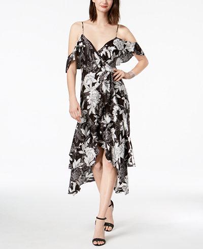 Bardot Printed Off-The-Shoulder High-Low Dress