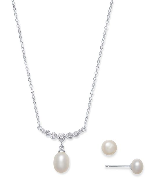 Macy's Cultured Freshwater Pearl (7 x 9 & 6mm) & Cubic Zirconia Jewelry Set in Sterling Silver