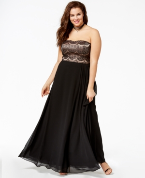 1950s Plus Size Dresses, Clothing and Costumes City Chic Trendy Plus Size Strapless Pleated Gown $149.00 AT vintagedancer.com