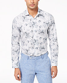 Tallia Men's Modern-Fit Stippled Floral-Print Dress Shirt