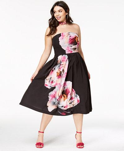 City Chic Trendy Plus Size Strapless Midi Dress