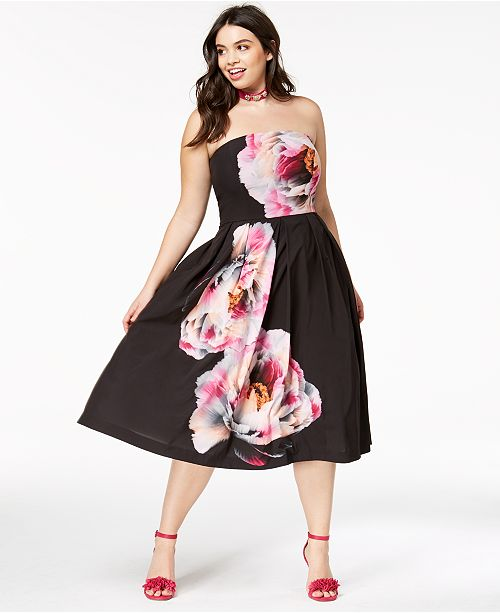 City Chic Trendy Plus Size Strapless Midi Dress Dresses Plus