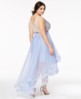 Say Yes To The Prom Trendy Plus Size Illusion High Low Gown Created