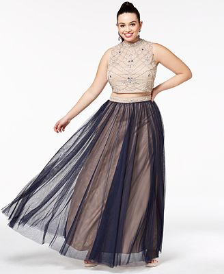 Say Yes To The Prom Trendy Plus Size 2 Pc Beaded Gown Created For