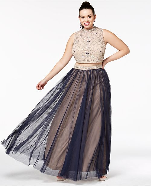 50b0b380bc ... Say Yes to the Prom Trendy Plus Size 2-Pc. Beaded Gown