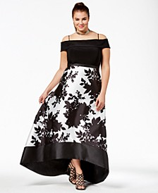 Trendy Plus Size Off-The-Shoulder High-Low Gown