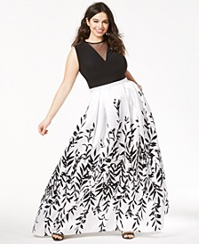 Trendy Plus Size Printed A-Line Gown