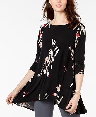 Alfani Petite Garden-Print Swing Top, Created for Macy's
