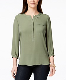 Petite Pleated-Back Blouse, Created for Macy's