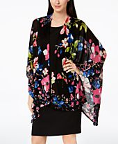 I.N.C. Vibrant Floral Cape, Created for Macy's