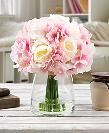 Pure Garden Pink Hydrangea & Cream Rose Floral Arrangement with Vase