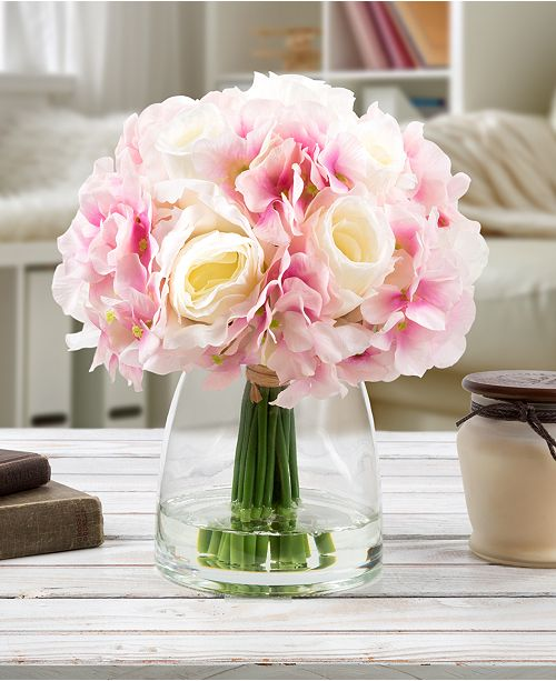 "Trademark Global Pure Garden Pink Hydrangea & Cream Rose Floral Arrangement with Vase, 10.5"" x 5"" x 5"""