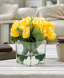 Pure Garden Yellow Tulip Floral Arrangement with Vase