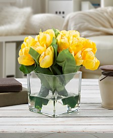 "Pure Garden Yellow Tulip Floral Arrangement with Vase, 8"" x 4"" x 4"""