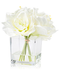 Pure Garden Cream Lily Floral Arrangement With Glass Vase