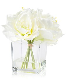 "Pure Garden Cream Lily Floral Arrangement With Glass Vase, 8.5"" x 7.5"" x 7.5"""