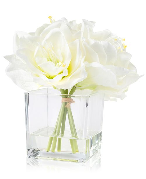 "Trademark Global Pure Garden Cream Lily Floral Arrangement With Glass Vase, 8.5"" x 7.5"" x 7.5"""