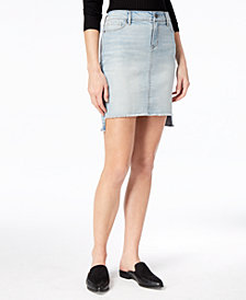 Black Daisy Juniors' Denim Cut-Off Skirt