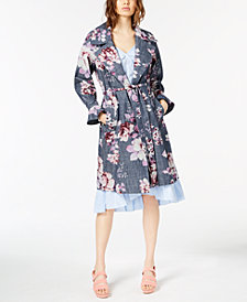 Jill Jill Stuart Cotton Floral-Print Tie-Waist Jacket, Created for Macy's