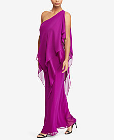 Lauren Ralph Lauren Georgette One-Shoulder Gown