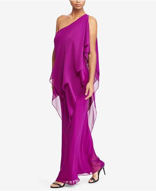 e36a178fd7 Lauren Ralph Lauren Georgette One-Shoulder Gown   Reviews - Dresses ...