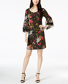 MSK Bell-Sleeve Printed Chiffon Dress