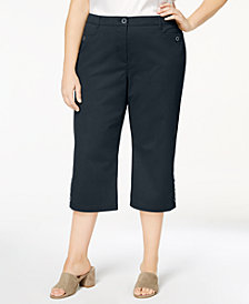 Karen Scott Plus Size Button-Cuff Capri Pants, Created for Macy's