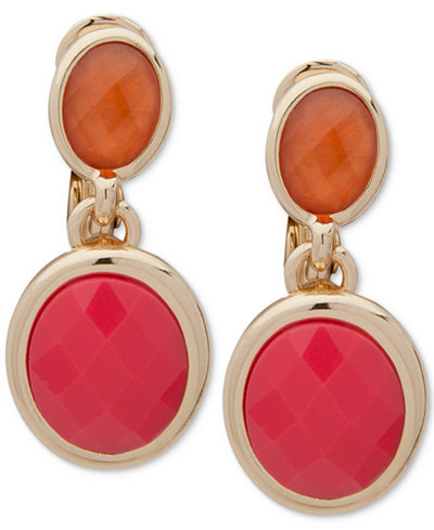 Anne Klein Gold-Tone Colored Stone Clip-On Drop Earrings