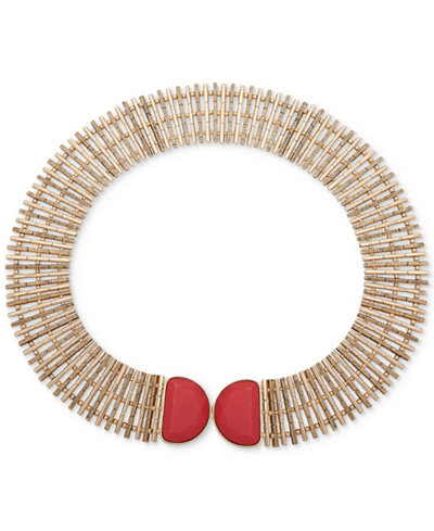 Anne Klein Gold-Tone Red Stone Wide Collar Necklace
