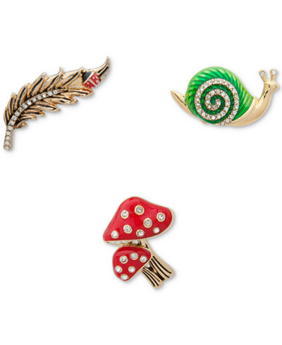 Anne Klein Gold-Tone 3-Pc. Set Pavé Garden-Motif Pins, Created for Macy's