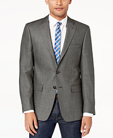 CLOSEOUT! Calvin Klein Men's Slim-Fit Gray/Black Neat Textured Silk and Wool Sport Coat