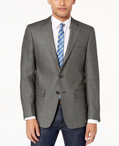 Calvin Klein Men's Slim-Fit Gray/Black Neat Textured Silk and Wool Sport Coat