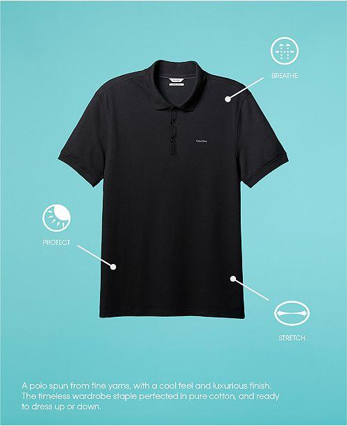 Calvin Klein Men s Liquid Touch Micro Stripe Polo Shirt - Polos ... 863d18b4144