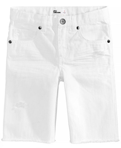 Epic Threads White Cotton Shorts, Little Boys, Created for Macy's