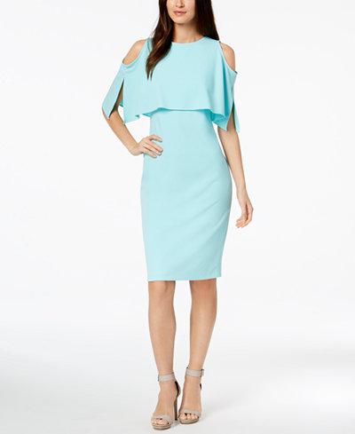 Calvin Klein Cold-Shoulder Popover Scuba Dress