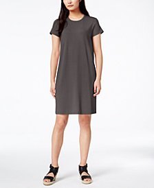 Eileen Fisher Stretch Jersey Short-Sleeve Shift Dress, Regular & Petite
