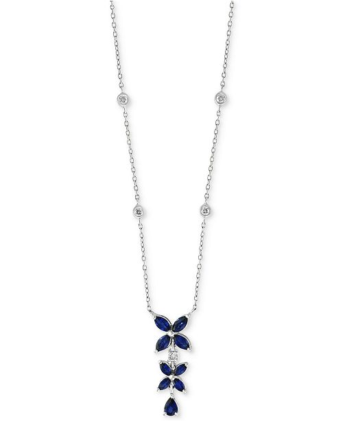 """EFFY Collection Royalé Bleu by EFFY® Sapphire (1-1/4 ct. t.w.) & Diamond (1/6 ct. t.w.) 16"""" Pendant Necklace in 14k White Gold"""