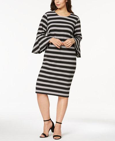 Calvin Klein Plus Size Striped Bell-Sleeve Dress
