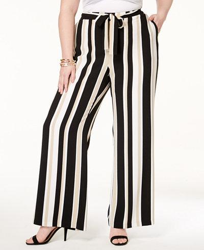 Alfani Plus Size Striped Wide-Leg Pants, Created for Macy's