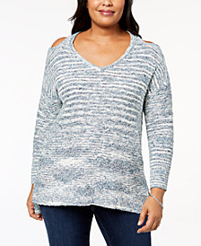 Love Scarlett Plus Size Cold-Shoulder Spacedye Sweater