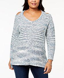 Love Scarlett Plus Size Cold-Shoulder Spacedye Sweater