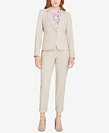 Tahari ASL One-Button Bi-Stretch Blazer & Cuffed Trousers